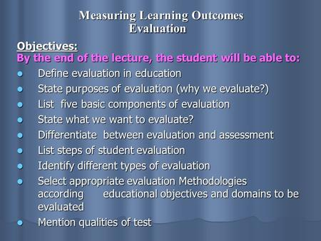Measuring Learning Outcomes Evaluation