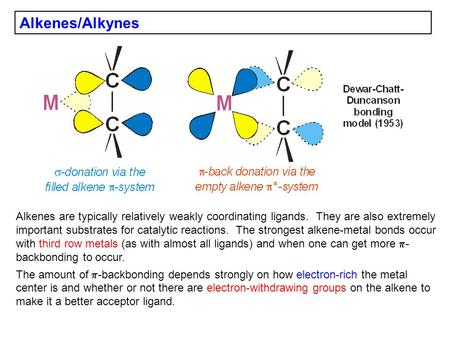 Alkenes/Alkynes Alkenes are typically relatively weakly coordinating ligands. They are also extremely important substrates for catalytic reactions. The.