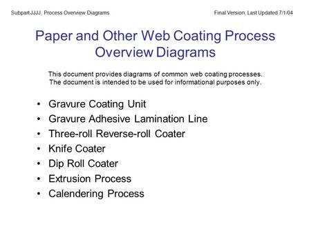 Paper and Other Web Coating Process Overview Diagrams This document provides diagrams of common web coating processes. The document is intended to be used.