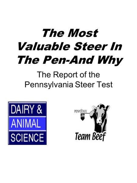 The Most Valuable Steer In The Pen-And Why The Report of the Pennsylvania Steer Test.