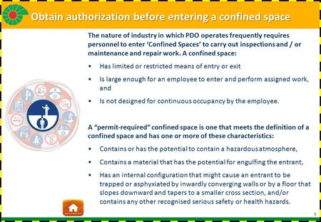 Obtain authorization before entering a confined space