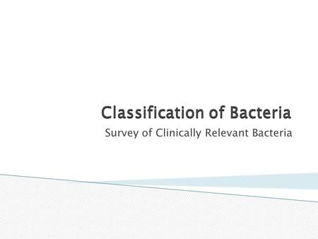Classification of Bacteria Survey of Clinically Relevant Bacteria.