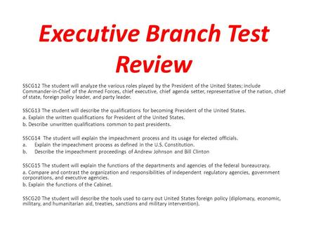 Executive Branch Test Review