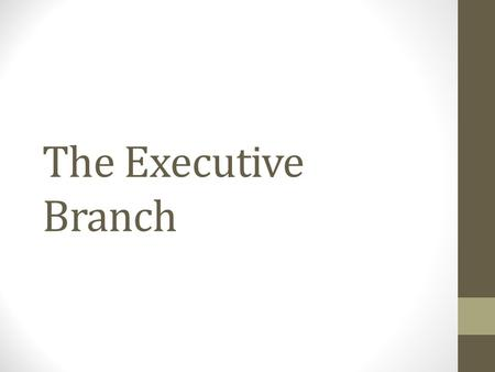 The Executive Branch. The Presidency Roles Formal Qualifications President's Terms Pay and Benefits Presidential Succession and the Vice Presidency Presidential.