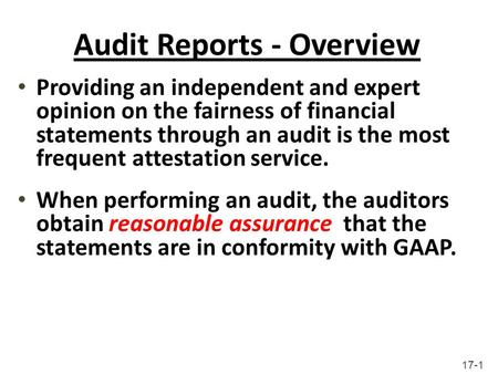 Audit Reports - Overview