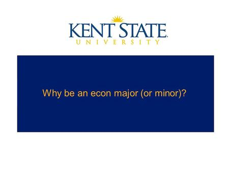 Why be an econ major (or minor)?. Economics Major and Minor Economics is the study of decision-making and incentives among people, firms and governments.