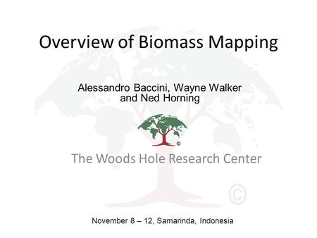 Overview of Biomass Mapping The Woods Hole Research Center Alessandro Baccini, Wayne Walker and Ned Horning November 8 – 12, Samarinda, Indonesia.