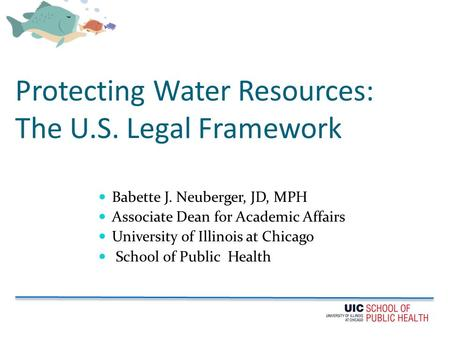 Protecting Water Resources: The U.S. Legal Framework Babette J. Neuberger, JD, MPH Associate Dean for Academic Affairs University of Illinois at Chicago.