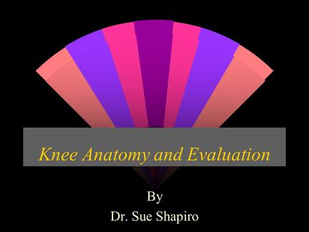 Knee Anatomy and Evaluation By Dr. Sue Shapiro. Osseous Structures w Formed by the articulations of femur, tibia, and patella. w They form 2 articulations.