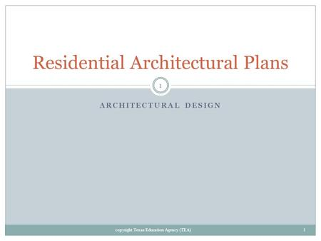 Residential Architectural Plans