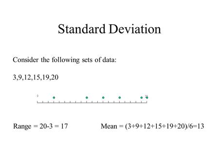 Standard Deviation Consider the following sets of data: 3,9,12,15,19,20 0 20 Range = 20-3 = 17Mean = (3+9+12+15+19+20)/6=13.