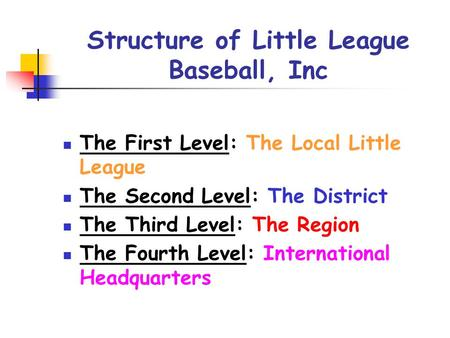 Structure of Little League Baseball, Inc The First Level: The Local Little League The Second Level: The District The Third Level: The Region The Fourth.