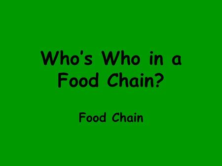 Who's Who in a Food Chain? Food Chain A food chain tells us what is eaten by what in an ecosystem.