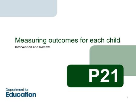 Intervention and Review Measuring outcomes for each child 1 P21.