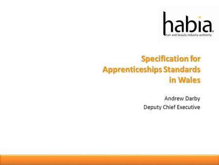 Specification for Apprenticeships Standards in Wales Andrew Darby Deputy Chief Executive.