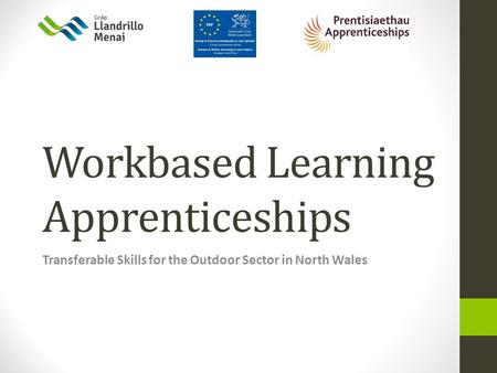Workbased Learning Apprenticeships Transferable Skills for the Outdoor Sector in North Wales.