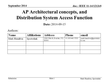 Doc.: IEEE 11-14/1213r0 September 2014 SubmissionSlide 1 Mark Hamilton, Spectralink AP Architectural concepts, and Distribution System Access Function.