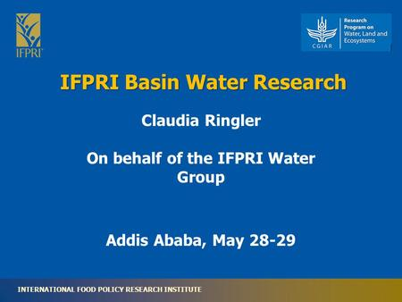 INTERNATIONAL FOOD POLICY RESEARCH INSTITUTE IFPRI Basin Water Research Addis Ababa, May 28-29 Claudia Ringler On behalf of the IFPRI Water Group.