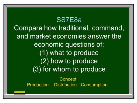 Concept: Production – Distribution - Consumption