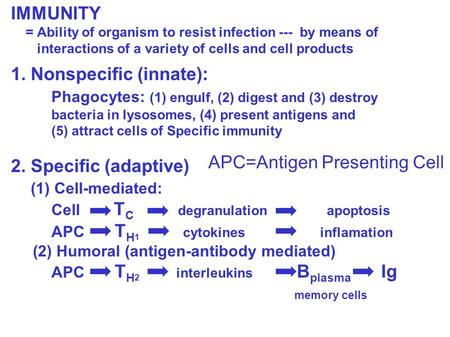 IMMUNITY = Ability of organism to resist infection --- by means of interactions of a variety of cells and cell <strong>products</strong> 1. Nonspecific (innate): Phagocytes: