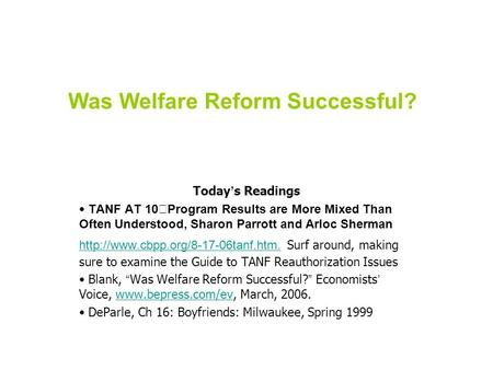 Was Welfare Reform Successful? Today ' s Readings TANF AT 10 Program Results are More Mixed Than Often Understood, Sharon Parrott and Arloc Sherman