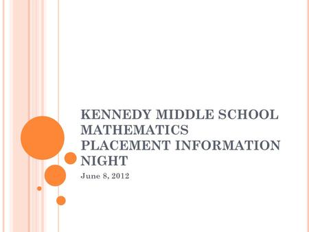 KENNEDY MIDDLE SCHOOL MATHEMATICS PLACEMENT INFORMATION NIGHT June 8, 2012.
