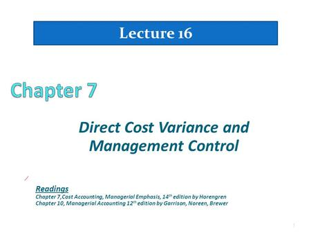 Direct Cost Variance and Management Control
