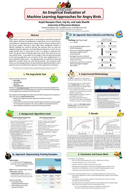 An Empirical Evaluation of Machine Learning Approaches for Angry Birds Anjali Narayan-Chen, Liqi Xu, and Jude Shavlik University of Wisconsin-Madison