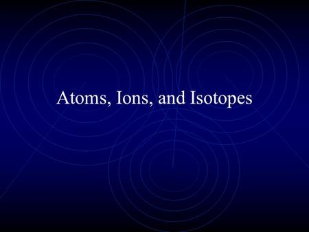 Atoms, Ions, and Isotopes. Quick Review Atoms are made up of three particles: Protons Neutrons Electrons Question: Which of the three particles identifies.