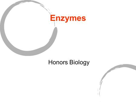 Enzymes Honors Biology.