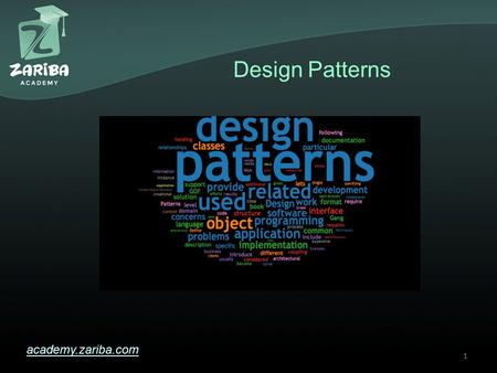Design Patterns academy.zariba.com 1. Lecture Content 1.What are Design Patterns? 2.Creational 3.Structural 4.Behavioral 5.Architectural 6.Design Patterns.