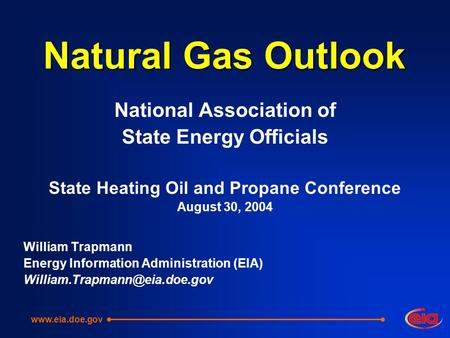 Natural Gas Outlook National Association of State Energy Officials State Heating Oil and Propane Conference August 30, 2004 William Trapmann Energy Information.