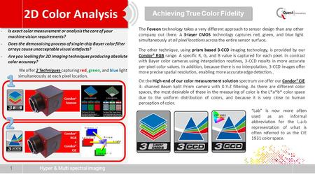 Hyper & Multi spectral imaging 1 Condor 1 Foveon -Is exact color measurement or analysis the core of your machine vision requirements? -Does the demosaicing.