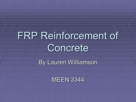 FRP Reinforcement of Concrete