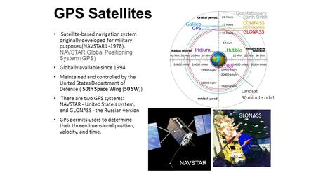 GPS Satellites Satellite-based navigation system originally developed for military purposes (NAVSTAR1 -1978). NAVSTAR Global Positioning System (GPS) Globally.