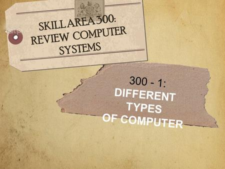 300 - 1: DIFFERENT TYPES OF COMPUTER SKILL AREA 300: REVIEW COMPUTER SYSTEMS.