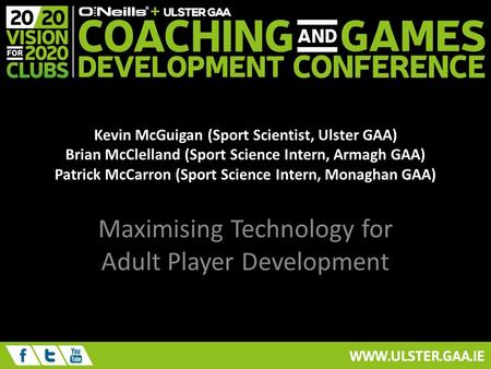 Maximising Technology for Adult Player Development