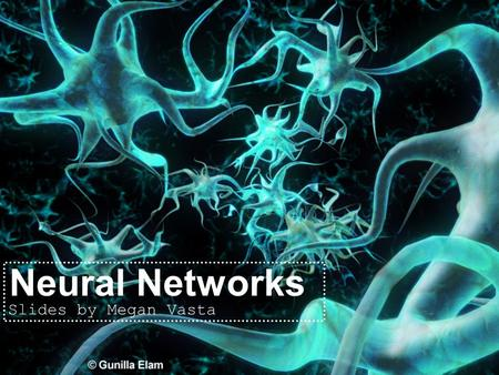 Neural Networks Slides by Megan Vasta. Neural Networks Biological approach to AI Developed in 1943 Comprised of one or more layers of neurons Several.
