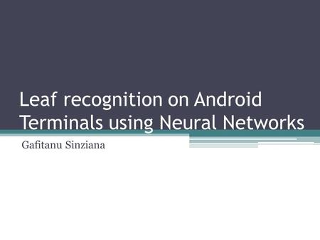 Leaf recognition on Android Terminals using Neural Networks Gafitanu Sinziana.