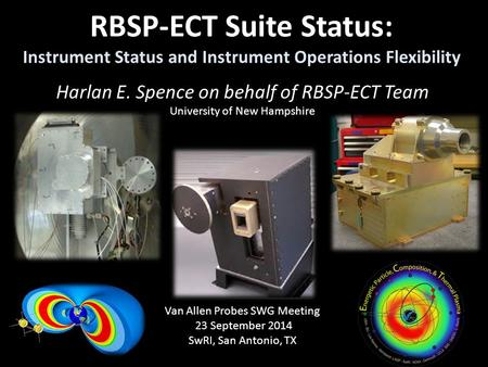 RBSP-ECT Suite Status: Instrument Status and Instrument Operations Flexibility Harlan E. Spence on behalf of RBSP-ECT Team University of New Hampshire.