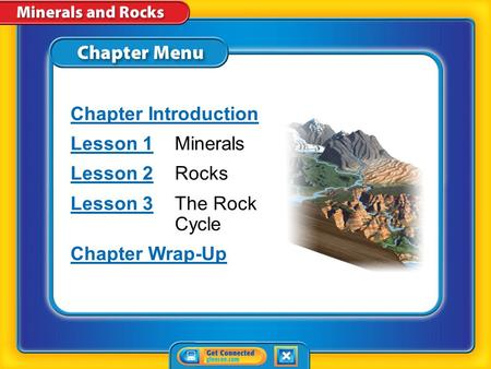 Chapter Menu Chapter Introduction Lesson 1Lesson 1Minerals Lesson 2Lesson 2Rocks Lesson 3Lesson 3The Rock Cycle Chapter Wrap-Up.