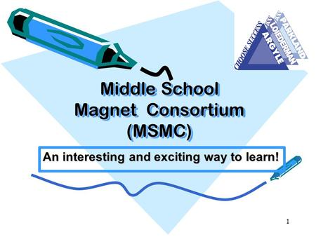 Middle School Magnet Consortium (MSMC) An interesting and exciting way to learn! 1.
