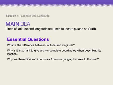 Section 1: Latitude and Longitude