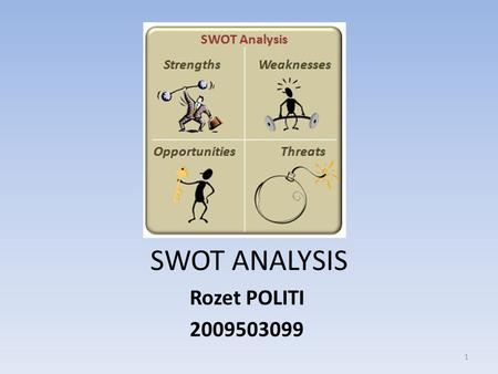 SWOT ANALYSIS Rozet POLITI 2009503099 1. Contents What is SWOT Analysis Strengths Weaknesses Opportunities Threats Using areas Advantages Disadvantages.