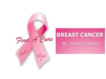 BREAST CANCER By : Preethi Vithana.