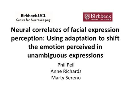 Neural correlates of facial expression perception: Using adaptation to shift the emotion perceived in unambiguous expressions Phil Pell Anne Richards Marty.