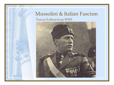the italian fascism as a fantasy Futurism, like italian fascism itself, was ideologically a mess it was a hodge-podge of anarchism, the aesthetics of violence, and nationalism italian fascism was likewise a stew of nationalism, anarchism, syndicalism, opportunism, machismo, and plain thuggery.