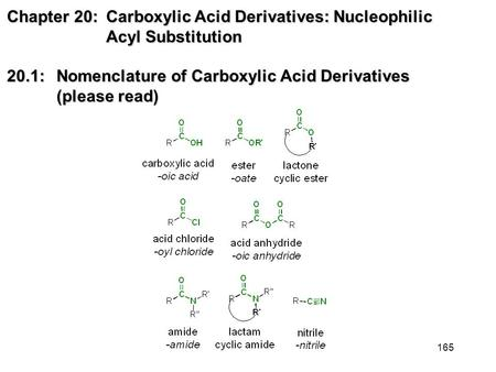 165 Chapter 20: Carboxylic Acid Derivatives: Nucleophilic Acyl Substitution 20.1: Nomenclature of Carboxylic Acid Derivatives (please read)