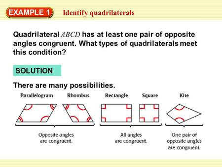 EXAMPLE 1 Identify quadrilaterals Quadrilateral ABCD has at least one pair of opposite angles congruent. What types of quadrilaterals meet this condition?