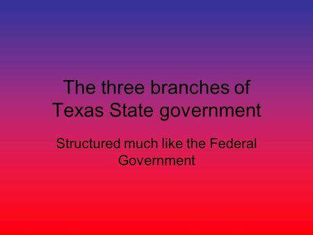 The three branches of Texas State government